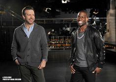 Jason Sudeikis and host Kevin Hart filming promos for Saturday Night Live. #SNL