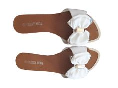 white bow flat mules