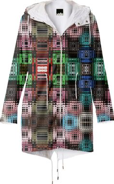 Raincout with mixed squere pattern from Print All Over Me