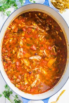 Easy Homemade Chicken Tortilla Soup - Fast, easy weeknight meal, and better than from a restaurant! Mexican Food Recipes, Soup Recipes, Chicken Recipes, Cooking Recipes, Healthy Recipes, Chicken Soups, Healthy Soup, Spicy Chicken Soup, Pork Soup