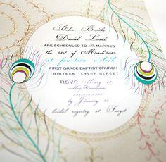 Peacock Wedding Invitation Card Vintage  digital by SweetPapermint