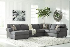 The Signature Design by Ashley is known for its high-quality, luxurious design products, and this Jayceon Grays Sectional is not an exclusion. Crafted from quality fabrics and hardwood the construction of this sectional will last you and your family long. Now it's for sale at 1Stopbedrooms for a really attractive price. Get corner chaise, loveseat and sofa for less than $1000!
