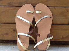 BEST SELLER Leather flat sandals gold color door SandalsnMore