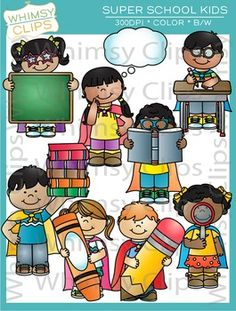 Super School Kids clip art is a fun set that features kids wearing capes in a school setting. The Super School Kids clip art set contains 16 image files, which includes 8 color images and 8 black & white images in png and jpg. All images are 300dpi for better scaling and printing.