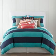 JCPenney Home™ 300tc Blue Rugby Stripe Duvet Cover & Accessories   found at @JCPenney