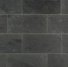 Slate Tile - Montauk Black Natural-----Maybe for Fireplace instead of stone Slate Bathroom, Bathroom Floor Tiles, Bathroom Wall, Wall Tiles, Bathroom Sconces, Floor Patterns, Tile Patterns, Slate Flooring, Slate Tiles