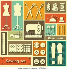Set Of Flat Vector Icons With Sewing Elements - 168198221 : Shutterstock