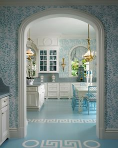 Totally incredible and pretty much insane turquoise fantasy acid trip of a fabulous kitchen in (where else?) Palm Beach by (whom else?) Scott Snyder, Inc. Sign me up.