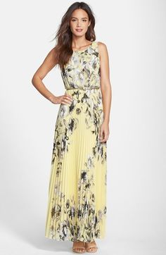 Free shipping and returns on Eliza J Print Chiffon Maxi Dress at Nordstrom.com. Achromatic blossoms illustrate the pale chiffon canvas that renders a sweeping, accordion-pleated dress polished with a glossy gunmetal belt.