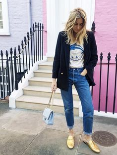 Style blogger extraordinaire Camille Charrière of Camille Over The Rainbow has us into the idea of combining a smart blazer with a retro tee. Add in raw-hem jeans and killer...