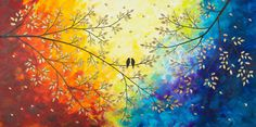 Love Birds Acrylic painting Giclee print & poster door QiQiGallery
