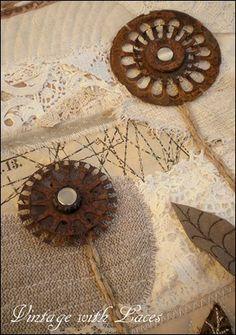 """Rusty Motor Parts as Flowers - """"Rusty Flower Garden"""" - A Mixed Media Art Quilt by Vintage with Laces"""