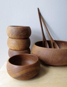 Teak serving bowl and salad set