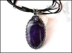Dark amethyst and sterling silver wire wrapped pendant by amorfia, $150.00