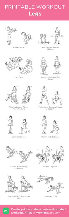 """Fitness Motivation : Illustration Description Legs Day: Customized printable workout """"Nothing will work unless you do"""" ! -Read More – Fitness Motivation, Fitness Diet, Health Fitness, Workout Fitness, Butt Workout, Gym Workouts, At Home Workouts, Workout Routines, Printable Workouts"""