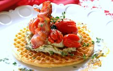 Enjoy an indulgent breakfast with this decadent waffle made with mascarpone, bacon and tomato Waffle Recipes, Meat Recipes, Romantic Meals, Romantic Recipes, Bacon Waffles, Food Places, Group Meals, Breakfast Recipes, Food And Drink