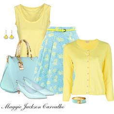 Aqua & Yellow, created by maggie-jackson-carvalho on Polyvore