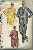 An original ca. 1952 Simplicity Pattern 4108.  Men's Two-Piece Pajamas and Nightshirt: View 1, Pajamas: Top has convertible collar, pocket on left front and long sleeves. Bands are top stitched to pocket and lower edge of sleeves. View 2, Pajamas: Top has V neckline and pocket on left front. Top stitched bands and contrasting bias piping trim neck, pocket and short sleeves. Nightshirt, View 3, has V neck, long sleeves, pocket on left front and bands top stitched to neck, pockets, and…