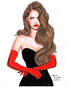 """""Luxury"" Jesus Diego 2015 #lanadelrey my fave art of Lana by far"""