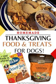 Easy ideas for homemade Thanksgiving food & treats for dogs. Did you know they actually make canned Thanksgiving dog food?! (Dogs actually love it.) But if that's not your thing... we've got some great homemade Dog Thanksgiving Dinner Recipes and easy Dog Thanksgiving Treats that you can make! | can dogs eat turkey meat | dog holiday food | can dogs eat turkey