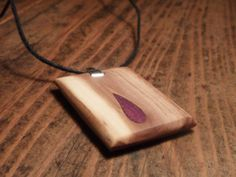 Necklace with amaranth and olive wood pendant. Modern inlaid amaranth drop in olive wood . Wooden jewel