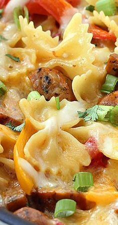 One Pot Cheesy Sausage And Peppers Pasta - Casserole Recipes - Casserole Recipes Pasta Casserole, Easy Casserole Recipes, Casserole Dishes, Chicken Casserole, Sausage Casserole, Cowboy Casserole, Stuffed Pepper Casserole, Healthy Diet Recipes, Cooking Recipes