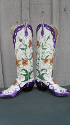 Handpainted boots with cutting edge style! www.oldsoleboots.com