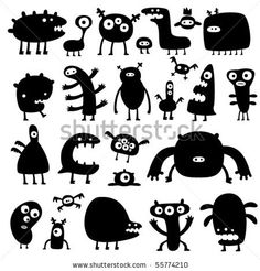 stock vector : collection of cartoon funny monsters silhouettes