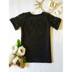 Black lace heart open back children's dress with lace sleeves. Handmade by Naida Crystal