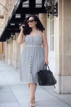 Stripe Sundress, Celine Phantom, Tory Burch Sandals - Tanesha Awasthi