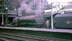 46230 'Duchess of Buccleuch' at Carlisle, early Photo bt Crewcastrian. Steam Trains Uk, Steam Railway, Railroad Photography, British Rail, St Albans, Steam Engine, Steam Locomotive, Carlisle, Birmingham