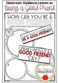 A classroom guidance lesson on being a good friend. Use in a school counseling program or regular classroom for students to have conversations about good friendship skills. Friendship Lessons, Friendship Activities, Middle School Counseling, Elementary School Counselor, Self Esteem Activities, Counseling Activities, Kindergarten Lessons, School Lessons, Kindergarten Classroom