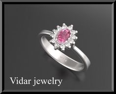 Pink Sapphire Engagement Ring,Flower Engagement Ring,Unique Engagement Ring,Halo Engagement Ring,Engagement Ring