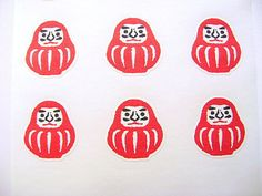 Japanese Stickers Dharma Doll Washi Paper S92 by FromJapanWithLove