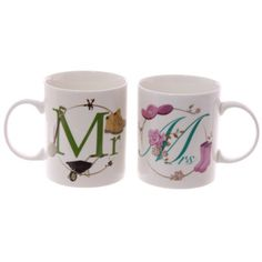 New Bone China Mr and Mrs Set of 2 Mugs Set of 2  Made from New Bone China  Dimensions: Height 9cm Width 11.5cm Depth 8cm  Delivery prices available on Checkout