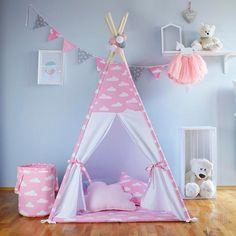 Diy Teepee, Kids Teepee Tent, Teepees, Childrens Teepee, Bed Bumpers, Pink Clouds, Kids Corner, Room Themes, Girls Bedroom