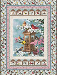No matter how cold and dreary it is outside, it'll be spring in your craft room when you stitch this beautiful pattern. Featuring the beautiful birds and blooms of Northcott's The Joys of Spring fabric line, this is sure to be a quilt you'll pull out. Heart Quilt Pattern, Easy Quilt Patterns, Crochet Patterns, Linen Stitch, Fabric Bowls, Spring Birds, Bird Quilt, Animal Quilts, Panel Quilts