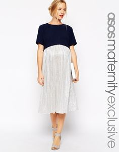 ASOS Maternity Exclusive Dress with Double Layer and Metallic Skirt