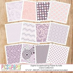 Printable scrapbook paper in lavender and soft pink