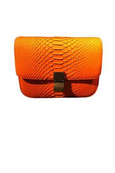 Fluorescent orange python box clutch, CELINE