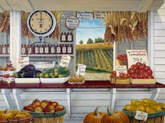"""""""Farmer's Market"""" - by John Sloane Illustrations, Illustration Art, Produce Stand, Market Stands, Up Book, Country Art, Country Life, American Country, Down On The Farm"""