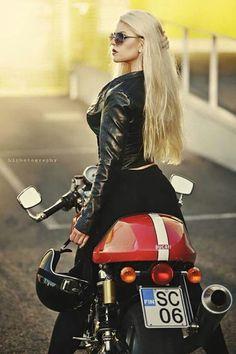 Blonde on a motobike!