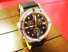 Yellow against black is mostly used in warning signs. On a Camel Active watch, however, it is a celebration of an adventurous man's penchant for living life on the edge. http://www.facebook.com/almuftahgroupqatar