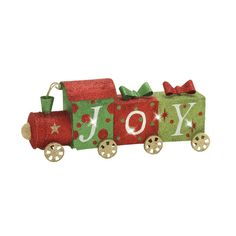 This sparkly train figurine has LED lights that twinkle with the help of batteries (not included). Metal LED Train | Weekends Only Furniture and Mattress
