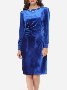 Plain Zips Vintage Classical Round Neck Bodycon-dress