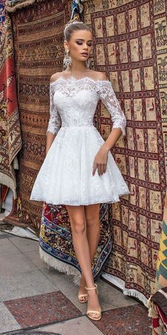 27 Amazing Short Wedding Dresses For Petite Brides ❤ short wedding dresses lace off the shoulder long sleeves liretta ❤ See more: http://www.weddingforward.com/short-wedding-dresses/ #weddingforward #wedding #bride #shortweddingdresses Amazing for traveling to honeymoon