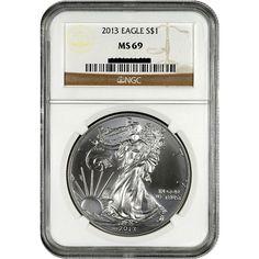 2013 U.S. American Eagle 1 oz Pure Silver Dollar MS69 NGC Brown Label