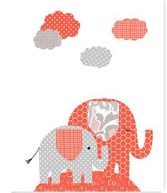Elephant Nursery Art, Coral and Gray, Girl's Nursery Decor, Baby Shower Gift, Baby Girl, Canvas Nursery, Elephant Canvas Art, Jungle Nursery by SweetPeaNurseryArt on Etsy
