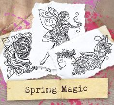 Delicate swirls combine with intricate details to create a magical array of the signs of spring. Designs download as PDFs; use pattern transfer paper to trace designs for hand-stitching.
