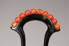 Tortoiseshell hairpin with coral beads